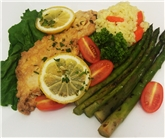 Chicken Francese with Risotto & Grilled Asparagus