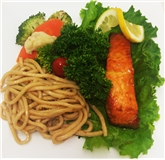 Asian Grilled Salmon, Sesame Noodles & Vegetables