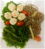 Crab Shumai with Soba Noodles and Seaweed Salad