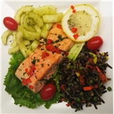 Poached Salmon, Wild Rice & Cucumber Dill Salad