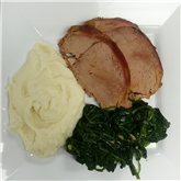 Veal Roast with Mashed Potatoes & Spinach