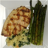 Grilled Tilapia with Asparagus & Veggie Risotto